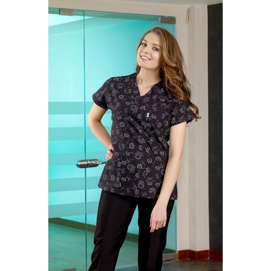 Siyah Çiçek Desenli Dr Greys Modeli Hemşire Forması (Terikoton İnce Kumaş)