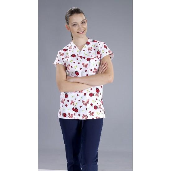 Kırmızı Uğur Böceği Desenli Dr Greys Modeli Hemşire Forması (Terikoton İnce Kumaş)