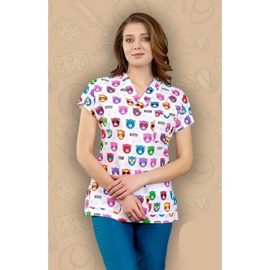Kitty Kedi Desenli Dr Greys Modeli Cerrahi Takım (Terikoton İnce Kumaş)