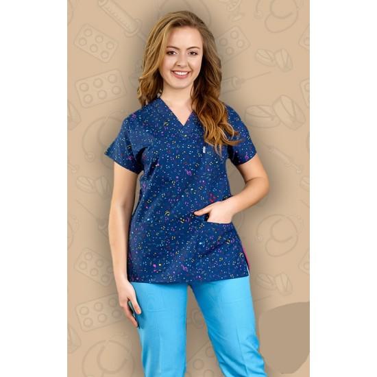 Nota Desenli Dr Greys Modeli Cerrahi Takım (Terikoton İnce Kumaş)