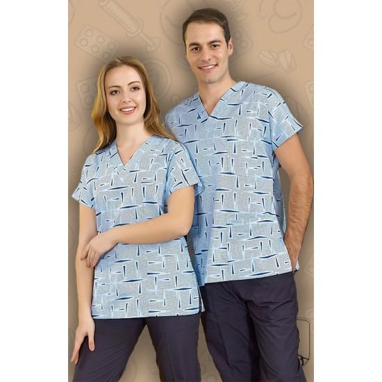 Pamuklu Likralı Dr. Greys Modeli Prestij Desenli Açık Mavi Tek Üst Forma