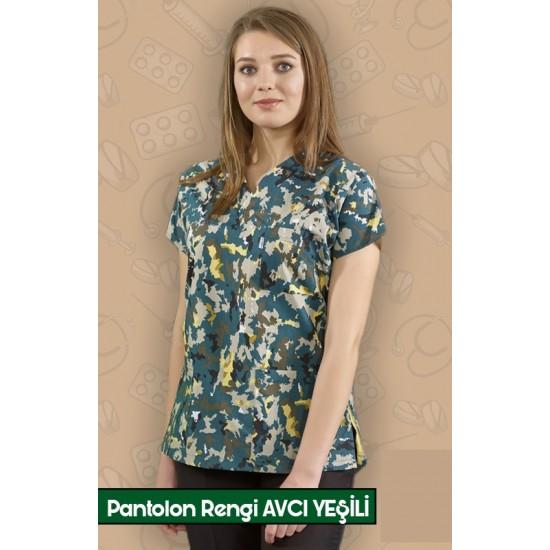 Sonbahar Desenli Pantolon Rengi Avcı Yeşili Dr Greys Modeli Cerrahi Takım (Terikoton İnce Kumaş)